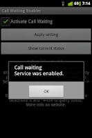 Screenshot of Call Waiting Enabler