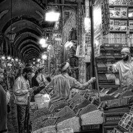 Egyptian market by George Petridis - City,  Street & Park  Street Scenes ( market, egyptian, black and white, street, scene, istanbul, crowd, people, humanity, society )