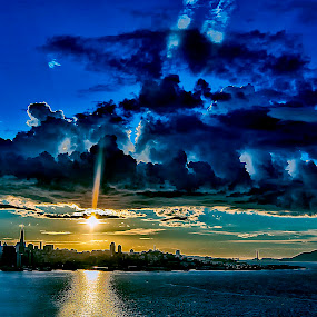 When the sun shines on the bay by Jamie Valladao - Landscapes Cloud Formations ( stormy, golden gate bridge, bay, waterscape, sunset, landscape, san francisco,  )