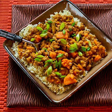 CrockPot Recipe for Sweet and Spicy Ground Turkey and Sweet Potato Stew with Coconut Milk