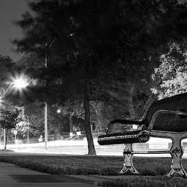Park Bench Long Exposure by Jason Gajan - City,  Street & Park  City Parks ( mirror pool, park bench, long exposure, ward parkway, kansas city fountains )