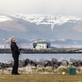 Where did my ball go????? by Kim Mortensen - Sports & Fitness Golf ( iceland, golfer, lighthouse, golf )