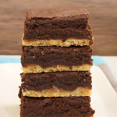 Caramel Popcorn Shortbread Brownies