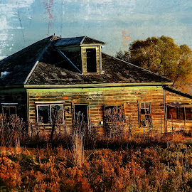 Broken Windows by Cindy Luelling - Digital Art Places ( old house, digital art, outdoors, ghost town, summer )