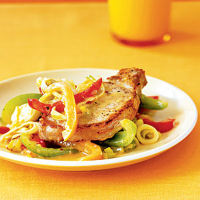 Orange Pork with Sautéed Leeks