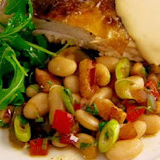 Roast Chicken Crown With Bacon And Cannellini Beans