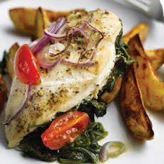 Garlic Spinach Chicken With Spicy Wedges And Salsa