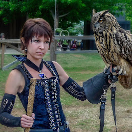 Renaissance Fair Owl by Barb Hauxwell - Animals Birds ( girl, oklahoma, owl, fun, renaissance dress, fair, renaissance fair )