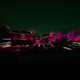 Entertainment Area by Louise Eksteen - Abstract Light Painting ( lights, buildings, pink, casino, boardwalk )