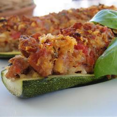 Sausage Stuffed Courgettes