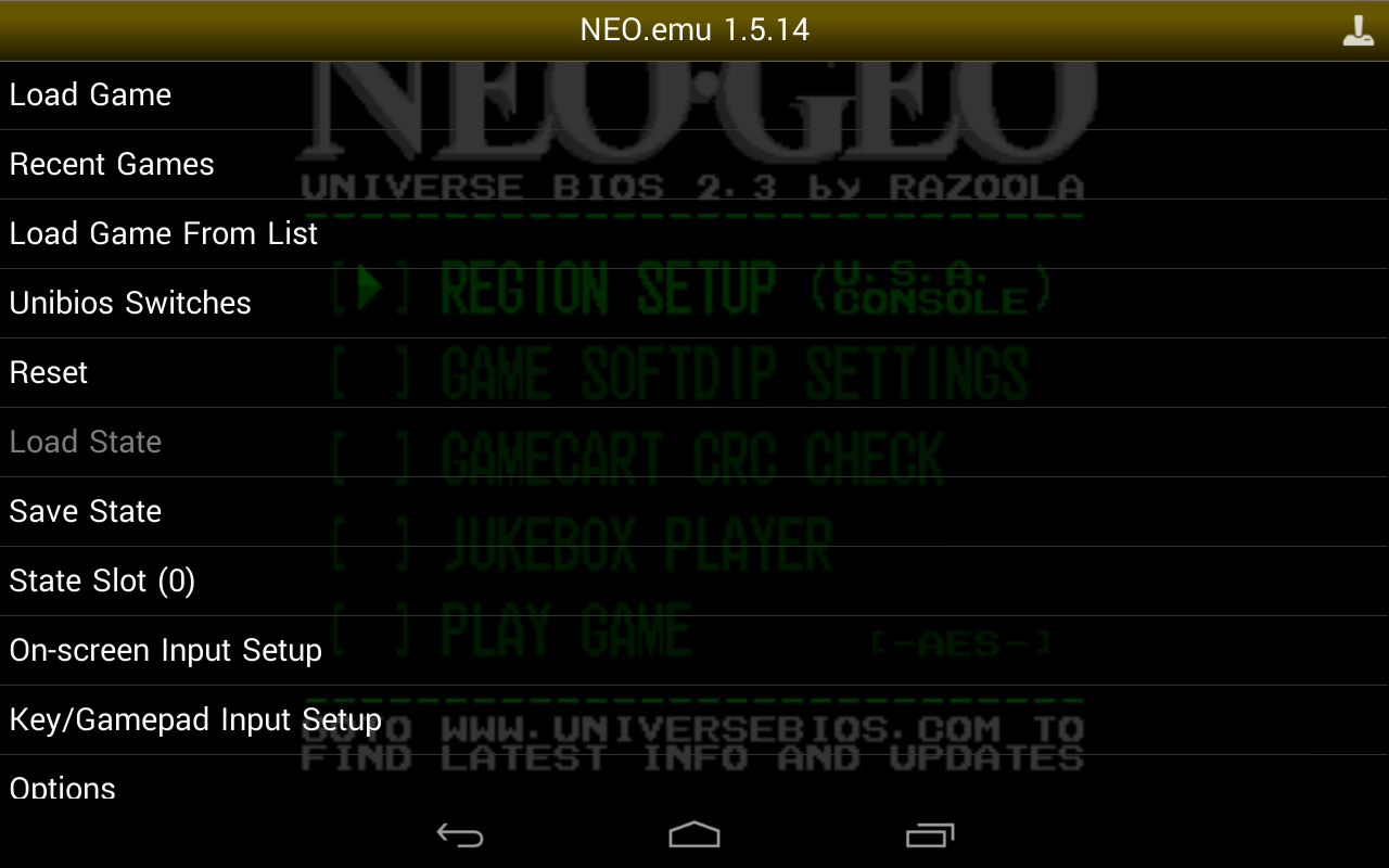 NEO.emu Screenshot 2