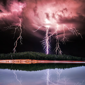 Lightning and the Lake by Craig Eccles - News & Events Weather & Storms ( thunder, water, lightning strike, news, lake, storm, reflection., colourfull, lightning, lightning bolt, event, weather, thunder storm, rocks,  )