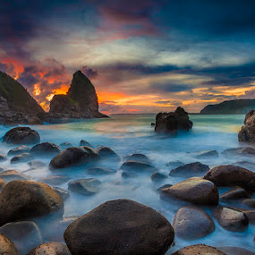 De Payangan by Andy R Effendi - Landscapes Waterscapes ( jember, sunset, indonesia, payangan, seascape, landscape, rocks, papuma )