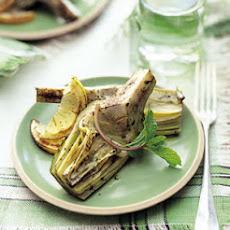 Grilled Artichokes with Olive Oil, Lemon, and Mint