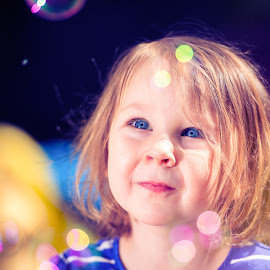 Bubbles by Shane McKenzie - Babies & Children Children Candids ( bubbles, blue eyes, kid portrait, kids, closeup )