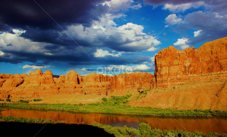 River in the Desert by Skylar Marble - Landscapes Deserts ( rock, cliffs, animal, clouds, river, black and white, desert, sandstone )