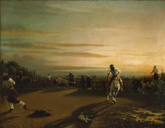 <i>Sorting in the Corral</i> depicts the activity of separating bovine livestock from one corral to another, undoubtedly with the aim of slaughtering them. The riders in the distance rustle the cattle while the owner of the hacienda, dressed in a frock coat, observes the scene alongside the overseer, close to the corral gate.