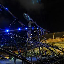 Marina Bay, Singapore. by Tony Yee - Buildings & Architecture Office Buildings & Hotels ( night photography, night scene, night, bridge, hotel, night shot, nightscapes, nightscape )