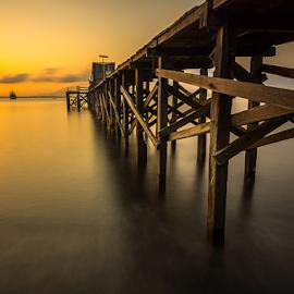 Goldie Sunrise by Ade Noverzan - Buildings & Architecture Bridges & Suspended Structures ( beach, sunrise, bridge, goldie )