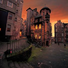 Edinburgh Twilight by Phil Robson - City,  Street & Park  Street Scenes ( scotland, edinburgh, sunset, streets, architecture,  )