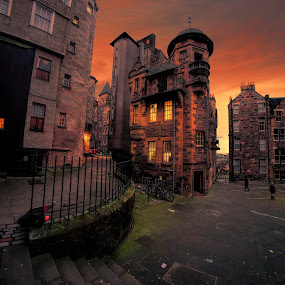 Edinburgh Twilight by Phil Robson - City,  Street & Park  Street Scenes ( scotland, edinburgh, sunset, streets, architecture,  )