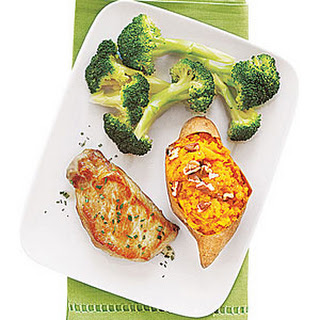 Twice-Baked Sweet Potatoes with Pork Chops
