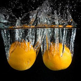 Double Drop by Troy Wheatley - Food & Drink Fruits & Vegetables ( water, orange, fruit, splash, drop )