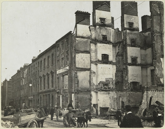The Royal Hibernian Academy, Abbey Street. The gallery, along with the entire Annual Exhibition, was destroyed by fire during the Rising. The Academy was without a permanent premises until 1939