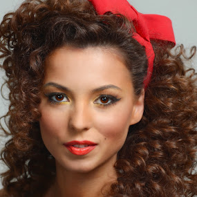 Lady with red by Costi Manolache - People Portraits of Women ( fotoevent88, cute girl, red lips, red ribbon, nice eyes, curly hair,  )
