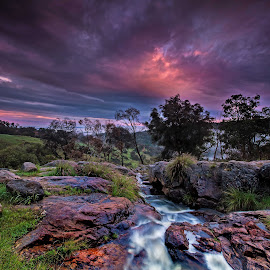 Fire in the Sky by David Ashley - Landscapes Mountains & Hills ( trees hills perth mist waterfall water rocks mountains sunset sunrise clouds )