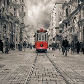 The Old Tram by Mario Moreno - City,  Street & Park  Historic Districts ( muslim, old, europe, islamic, tram, istanbul, travel, city, destination, mario moreno, tourist, red, asia, taksim, turkey, eastern, selective color, pwc )