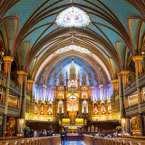 La Basilique Notre-Dame de Montréal by Michael Sharp - Buildings & Architecture Places of Worship ( sculpture, montreal, altar, church, canada, columns, cathedral, gold, balcony, notre dame basilica of montreal )