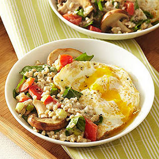 "Breakfast ""Risotto"" with Fried Eggs"