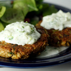 Chickpea Patties with Yogurt Sauce