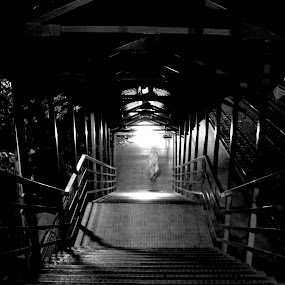 junction's spirit by Shashank Sharma - Black & White Street & Candid ( junction, b&w, down stairs, night, man )