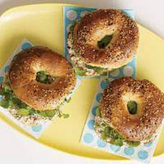 Creamy Hazelnut-and-Watercress Bagelwich