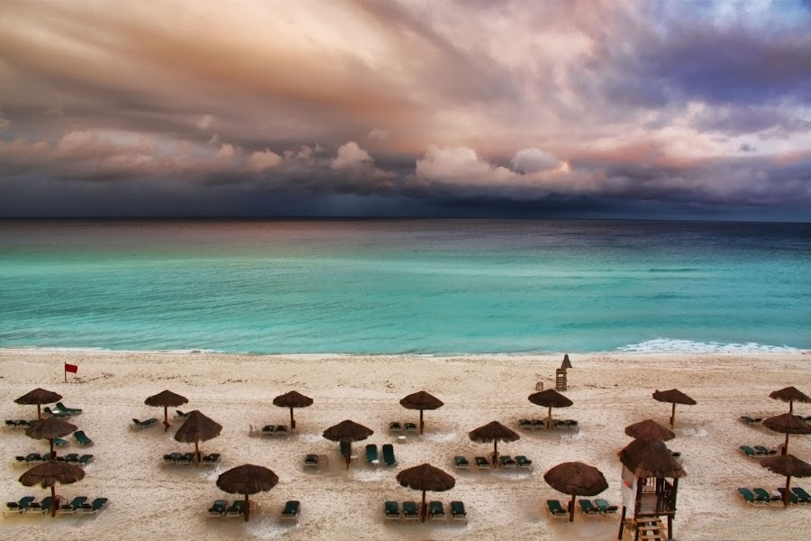 Royal Islander Beach by Dennis Granzow - Landscapes Waterscapes ( cancun, sandy beach, dramatic clouds, mexico, seascape, caribbean )