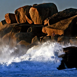 power of water on rocks  by Magdalena Wysoczanska - Landscapes Waterscapes ( water, colors, sunset, waves, power, sea, whitewash, rocks, foam,  )