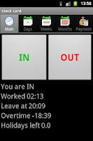 Screenshot of clock card