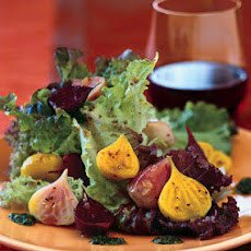 Roasted Beets and Baby Greens with Corinader Vinaigrette and Cilantro Pesto