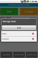 Screenshot of Working time