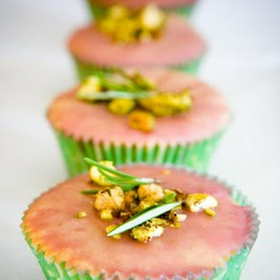 Pistachio Cake Cupcakes with Rosemary and a Cherry Glaze
