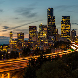 Seattle Lit Up by Bill Kuhn - City,  Street & Park  Skylines ( puget sound, columbia tower, seattle, light trails, long exposure, cityscape, interstate 5, beacon hill, downtown, city )