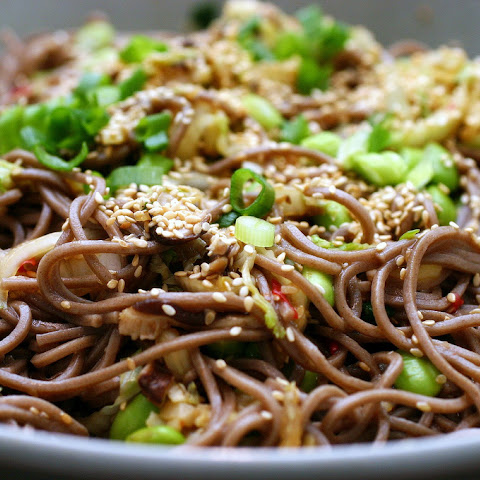 Spicy Soba Noodles with Shiitakes and Cabbage