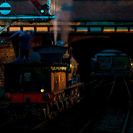 taking on water by Paul James - Transportation Trains ( locomotive, train, night, loco, water tower, steam )
