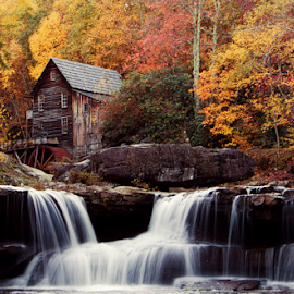 Glade Grist Mill, West Virginia by Deb Adkins - Landscapes Mountains & Hills ( water, mill, park, color, waterfall, fall, state, rock, leaves, river, , colorful, nature )