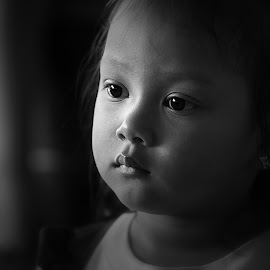 Chloe by Leyon Albeza - Babies & Children Children Candids ( child, black and white, black & white, children, kids, people, portrait, human, emotion )