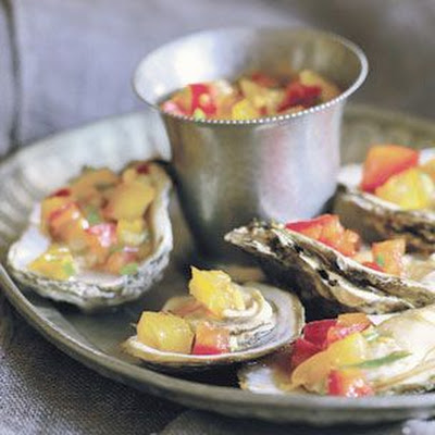 Barbecued Oysters with Ginger-Chili Salsa