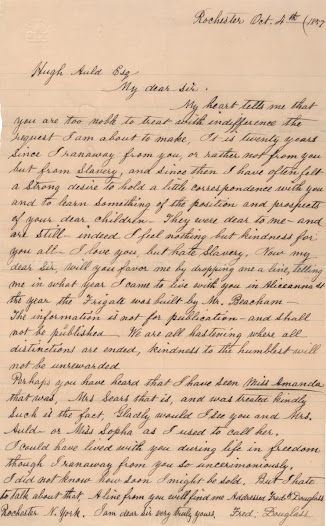 "In an extraordinary display of forgiveness, Douglass wrote to Hugh Auld, his former master: ""I love you, but hate slavery.""  Although Douglass harbored a certain kind of love for Auld, a paternal figure to him in many ways, he despised the institution of slavery, which Auld would be forever associated with.  Read the letter on the <a href=""http://www.gilderlehrman.org/history-by-era/slavery-and-anti-slavery/resources/%E2%80%9Ci-love-you-hate-slavery%E2%80%9D-frederick-douglass-his-f"">Gilder Lehrman website</a>."