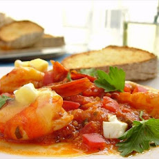 Shrimp Sahanaki with Greek Cheeses and Tomatoes